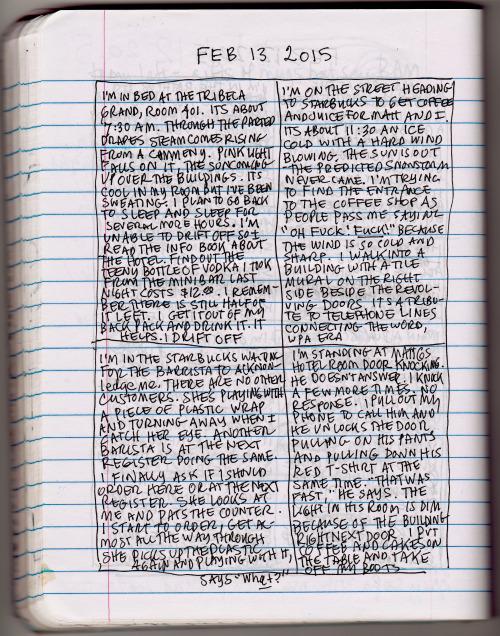 Esta es una foto del diario de cuatro escenas con anotaciones de Lynda Barry. Fuente: http://thenearsightedmonkey.tumblr.com/