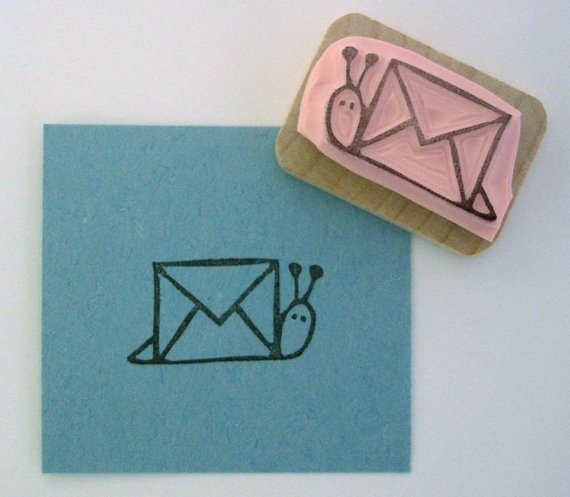 Sellito a la venta en Etsy: https://www.etsy.com/listing/62593879/snail-mail-rubber-stamp?utm_source=Pinterest&utm_medium=PageTools&utm_campaign=Share